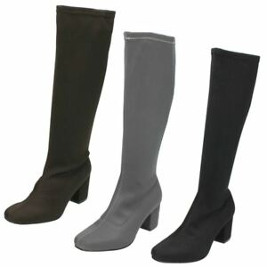Ladies-Spot-On-Knee-High-Zip-Fastening-Boots-F5R0623
