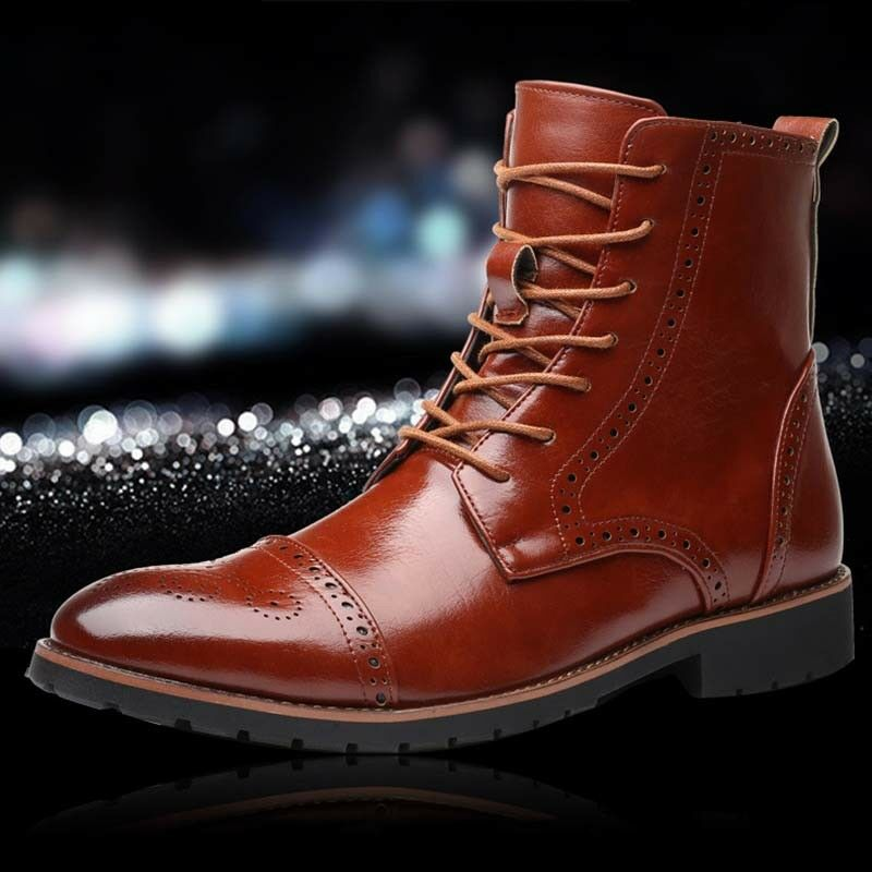 Stylish Mens puLeather Warm Knight Oxford High top shoes Pointed toe Martin Boot