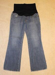 74fe74e4c62 Liz Lange Medium Light Wash Boot Cut Maternity Jeans Size 12 Full ...