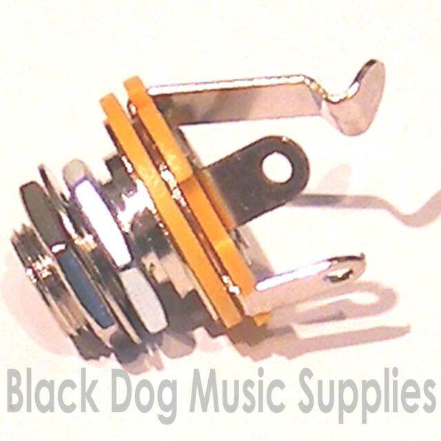 Guitar input jack socket chrome black or gold mono