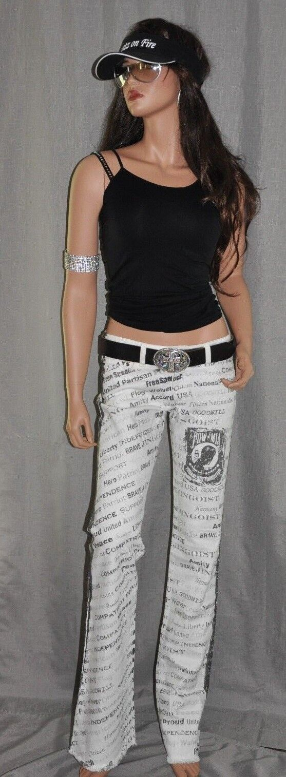 Pants On Fire POW MIA Jeans White Proudly Made in the USA Los Angeles, CA