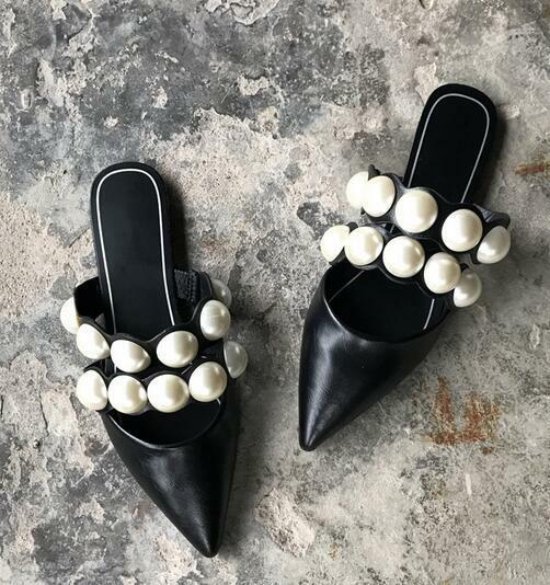 Womens Black Faux Leather Pearls Pointed Toe Flats Mules Slippers Shoes NEW D722