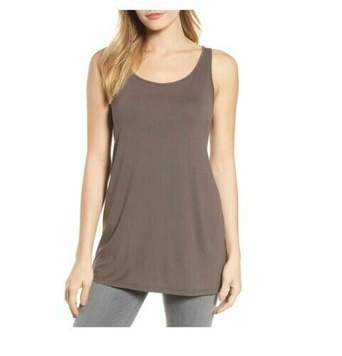 Eileen Fisher Cobblestone Viscose Jersey Scoop Neck Long Tank Tunic sz PM NWT