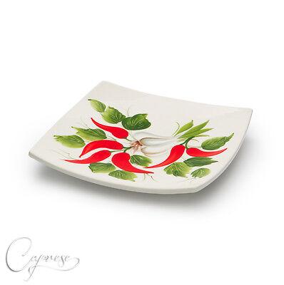 Bassano Ceramica Quadrato Piatto 20 Cm Pepe Mt Aglio Motivo Italia Nuovo-mostra Il Titolo Originale Long Performance Life