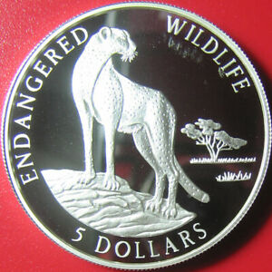 1996-COOK-ISLANDS-5-SILVER-PROOF-CHEETAH-WILD-CAT-ENDANGERED-WILDLIFE-RARE-COIN