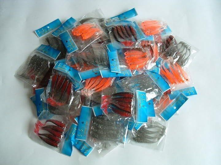 500 NEW Soft Plastic Worm Fishing Lures Bait Lot 3
