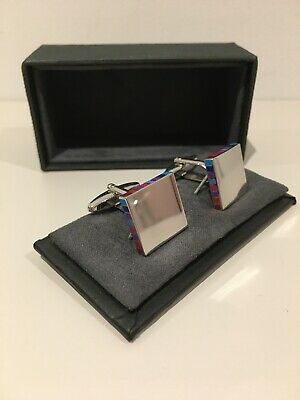 Boxed Austin Reed Square Multi Coloured Enamelled Cufflinks Gift Chrome Bnib Ebay