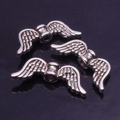 Schutzengel//Perlenengel Fl/ügel Engelfl/ügel//Fl/ügelperlen mit Herz 22mm Silber Antik Engel Charms basteln