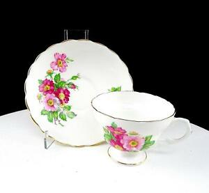 "CROWN CHINA ENGLAND RED AND PINK FLORAL SCALLOPED 2 1/2"" CUP AND SAUCER SET"