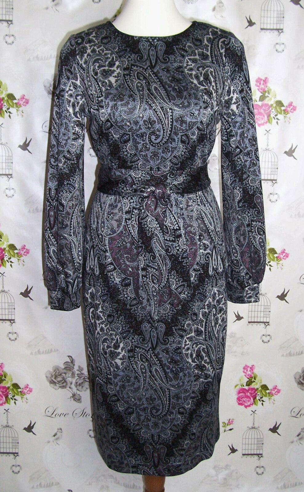 RC Kleid Jersey Romanit Grau Schwarz Mauve Gr.38-40 Paisley Retro Handarbeit