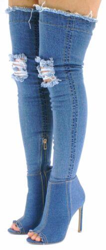 New Lady  Dark Blue Thigh High Over Knee Stretch Denim Open Toe Block Heel Boots
