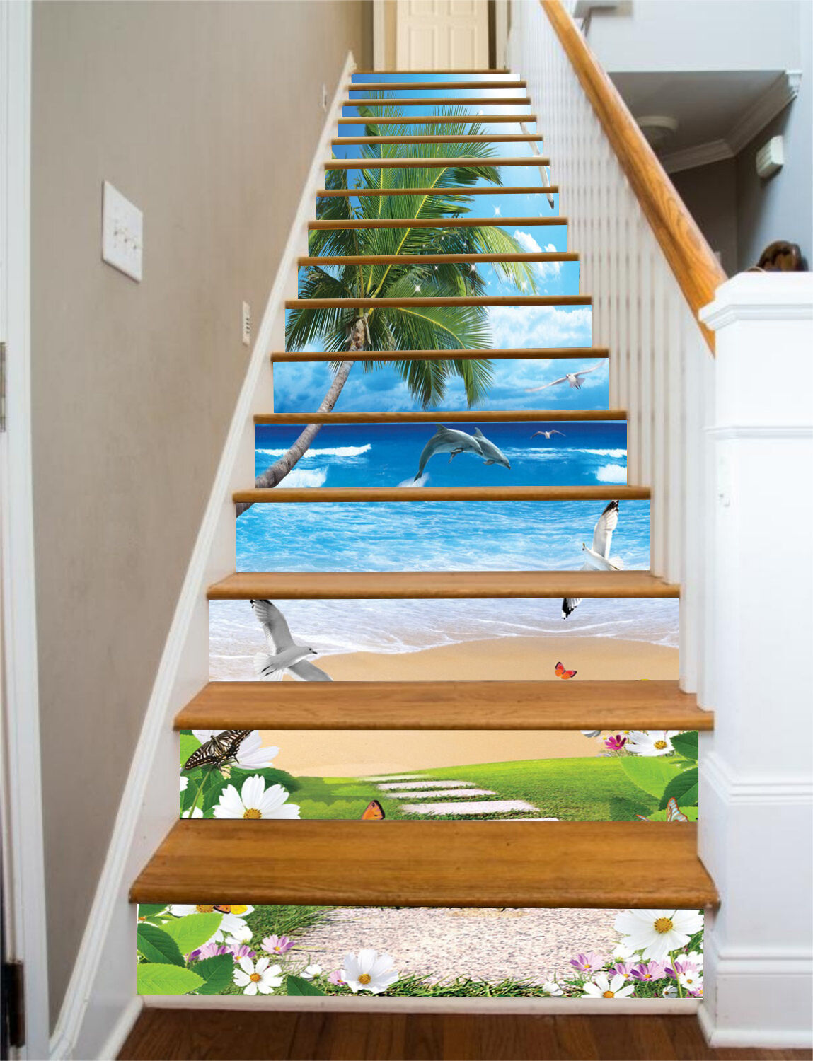 3D Seabirds Beach Stair Risers Decoration Photo Mural Vinyl Decal Wallpaper CA