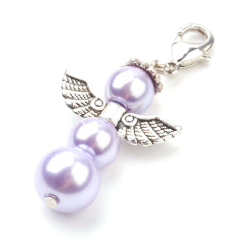 100pcs Alloy Angel Lobster Claw Clasps Glass Pearl Beads Pendants Charms  47 mm