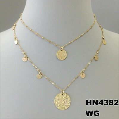 Dangle Round Disc Tassel Double Layer Clavicle Chain Gold//Silver Necklace