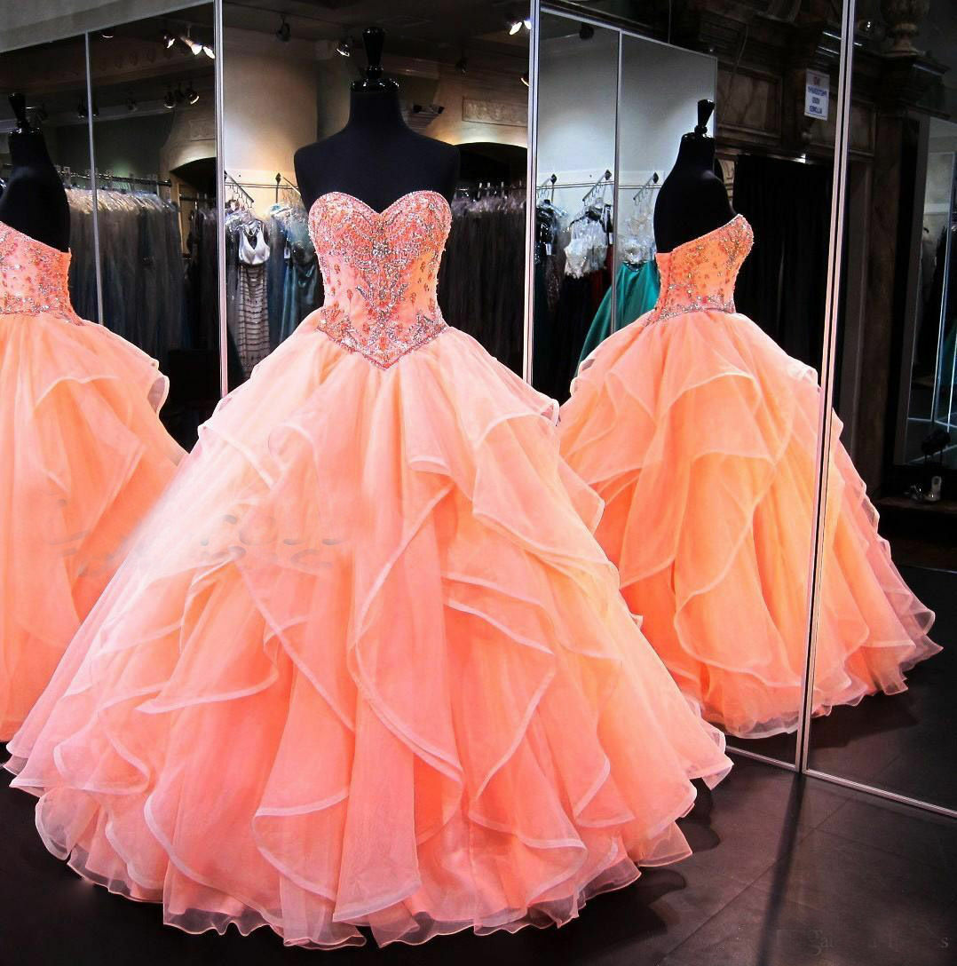 Coral Ball Gown Quinceanera Dress Formal Evening Evening Evening Gown Beaded Sweet Prom Dresses 35c073