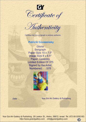 "Patricia Govezensky /""Gloria/"" Hand Signed and Numbered Serigraph Art COALE"