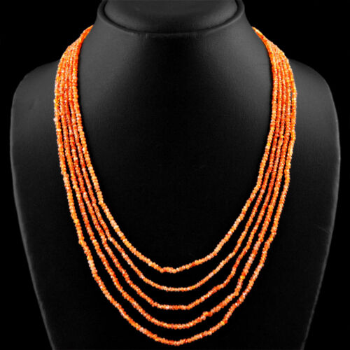 TOP 5 LINE 131.00 CTS NATURAL ORANGE CARNELIAN ROUND FACETED BEADS NECKLACE DG