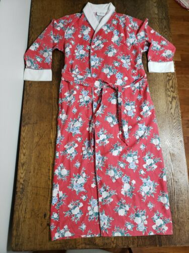 Vintage Mary McFadden Womens Robe Red Floral Size