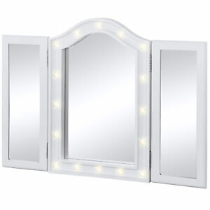 Bcp Lighted Tabletop Tri Fold Vanity Mirror W 16 Led