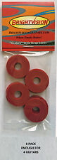Eight RED Rubber Guitar Strap Locks - Grolsch Style - Classic and Reliable!