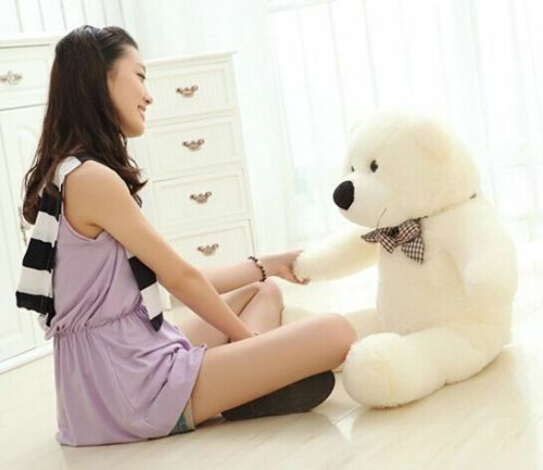 White Teddy Bear 60cm Plush Stuffed Soft Dolls Toys Xmas Birthday Gift for Child