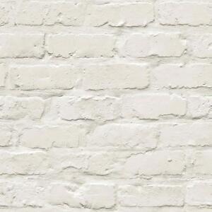 Image Is Loading Grandeco Ideco Painted White Brick Stone Wall Designer