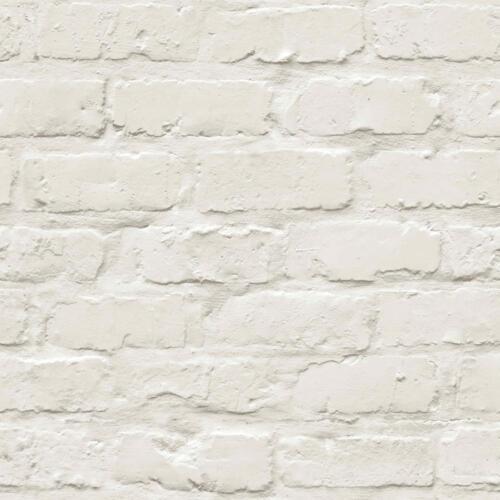 Grandeco Ideco Peint Blanc Brique Mur de Pierre Designer Caractéristique Papier Peint A10402