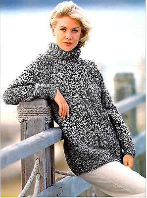 womens chunky tunic sweater knitting pattern 99p