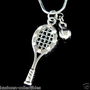 W swarovski crystal tennis racket racquet 3d ball charm pendant image is loading w swarovski crystal tennis racket racquet 3d ball mozeypictures Gallery