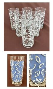 VINTAGE Drinking Glass Tumblers 16 oz. Clear White Flowers 6-Piece Set