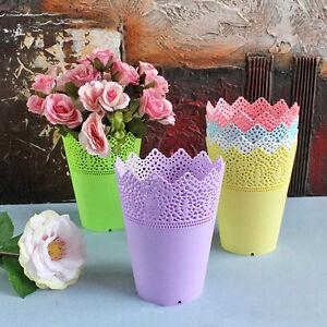 Plastic-Lace-Filigree-Plant-Planter-Flowers-Pot-Desk-Holder-Storage