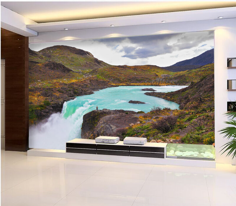 3D Wild Slope Hill River 193 Wall Paper Wall Print Decal Wall Deco Indoor Wall