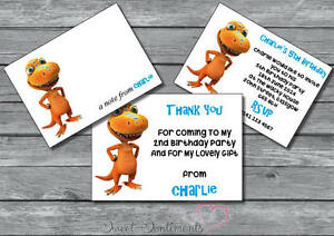 Dinosaur Train Personalised Birthday Party Invite Thank You Card