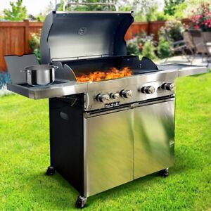 Barbecue a Gas Pietra Lavica 4 Fuochi + Fornello e Piano Laterali Doppia Griglia