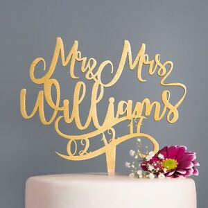 Personalised-Calligraphy-Mr-amp-Mrs-Date-Wedding-Cake-Topper-Rose-Gold-Gold-Silver
