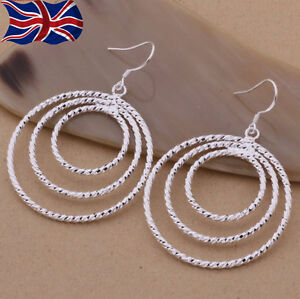 Image Is Loading 925 Sterling Silver Earrings Hoop Drop Large Textured