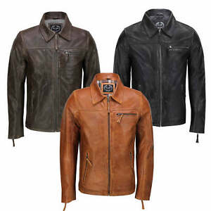 4805bc89ed6 Mens Real Leather Jacket Classic Collar Retro Zip Up Biker Style ...