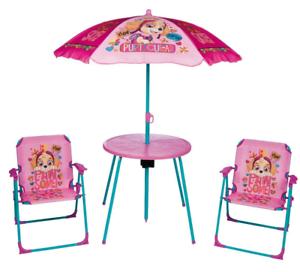Kids-Paw-Patrol-Pink-Garden-Picnic-Chair-Table-amp-Parasol-Sun-Shade-Umbrella-Set