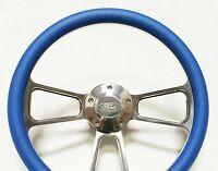 Mustang Steering Wheel - Billet Aluminum & Sky Blue Wrap, Horn & Billet Adapter