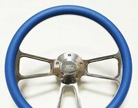 Mustang Steering Wheel - Billet Aluminum & Sky Blue Wrap, Horn & Billet Adapter