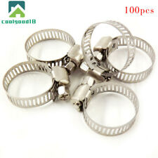 Hose Clamp 100 Pcs Stainless Steel Adjustable 25mm Range Worm Gear Hose Clamp BP