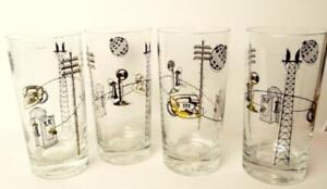 Glass-Drinkware-Tumblers-decorated-with-Telephone-Poles-Vintage-Lot-of-4