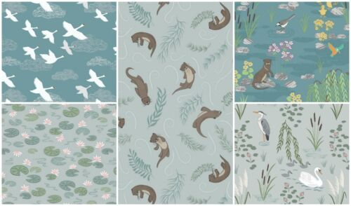 Down By the River Lewis et Irene 100/% Coton Tissu loutres cygnes