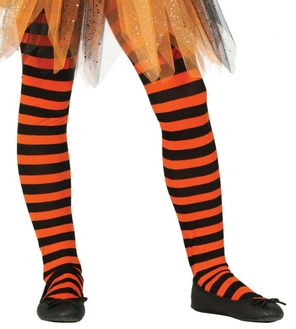 Ladies Orange /& Black Striped Halloween Witch Fancy Dress Tights Stockings Socks