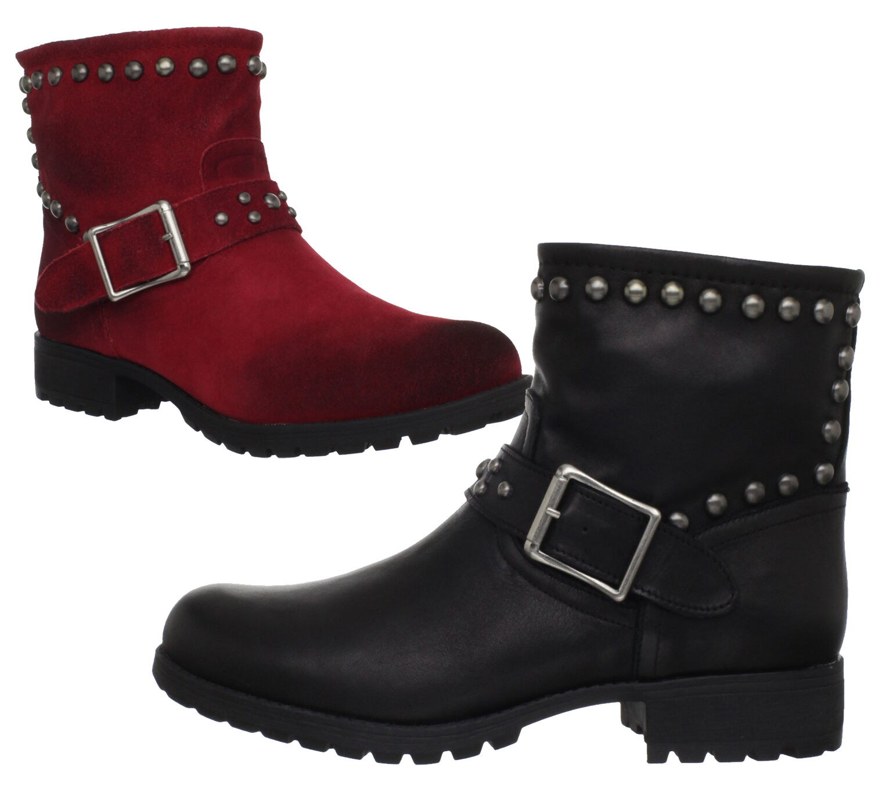 Kelsi Dagger Max para mujer de cuero tachonado Tobillo Moto botas-Negro O Rojo