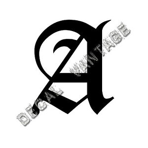 Old-English-A-Letter-Initial-Vinyl-Sticker-Decal-Font-Diploma-Choose-Size-amp-Color