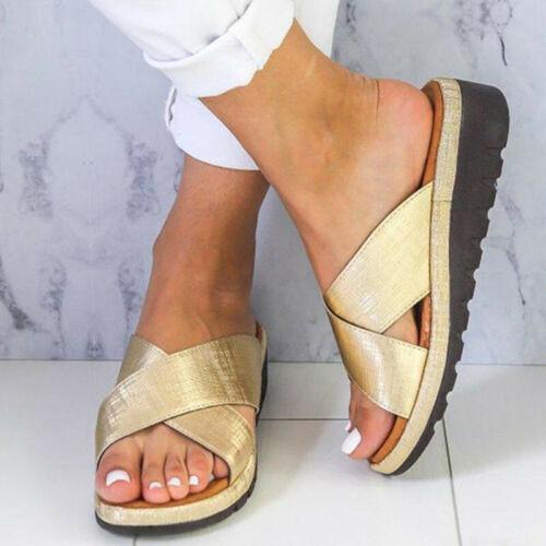 Women/'s Wedge Heel Slipper Summer Ladies Casual Sandals Slip On Sliders Shoes