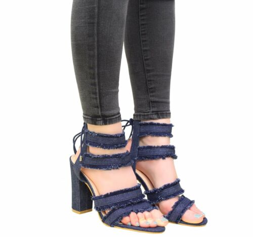 Ladies Women Lace Up High Heels Ankle Strappy Denim Gladiator Sandals Shoes Size