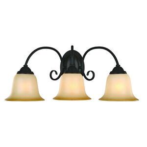 oil rubbed bronze 3 bulb bathroom light wall sconce 163835 ebay. Black Bedroom Furniture Sets. Home Design Ideas