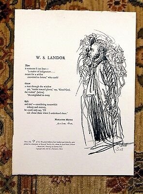 MARIANNE MOORE BROADSIDE ADAMS & LOWELL HOUSE PRINTERS #9 of 135 SIGNED 1965